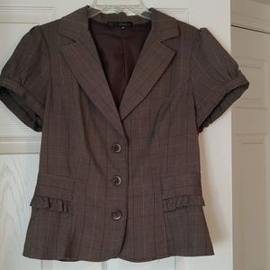 Heart & Soul Brown Pinstriped Short Sleeve Blazer
